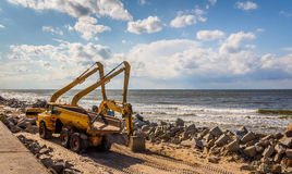 Construction of the breakwater. In Niechorze, Poland Stock Photos