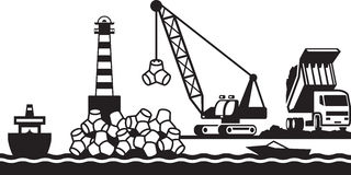 Construction of breakwater of the port Royalty Free Stock Photos