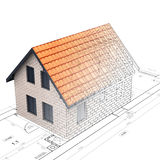 Construction of brick house design blend transition Stock Images