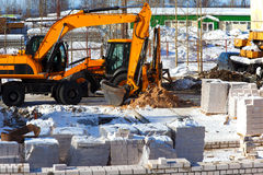 Construction of a brick house Royalty Free Stock Photography