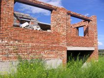 Construction of a brick house unfinished cottage Foundation stock photography