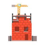 Construction of a brick house vector Illustration Stock Images