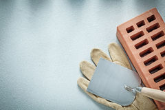 Construction brick leather protective gloves plastering trowel o Stock Image