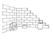 Construction brick wall building graphic art black white illustration Stock Photo