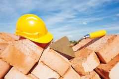 Construction bricklayer tools Royalty Free Stock Photos