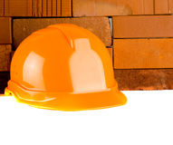 Construction  bricks and helmet Royalty Free Stock Images