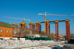 Construction of the bridge. Royalty Free Stock Photos