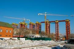 Construction of the bridge. Royalty Free Stock Photos