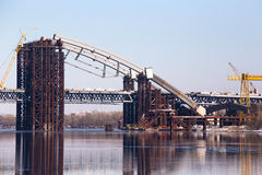 The construction of the bridge. Across the Dnieper. Kiev, Ukraine Royalty Free Stock Photography
