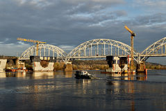 Construction of the bridge Stock Photo
