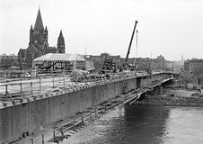 Construction of a bridge across the river danube Stock Photos