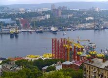 The Construction of bridge through bay Gold Horn Stock Photo