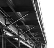 The construction of bridge black and white at bangkok Stock Photography