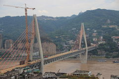Construction of the bridge. At both ends of a bridge across the ChangJiang River Royalty Free Stock Photo
