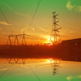 Construction of the bridge and electric cable line Royalty Free Stock Photography
