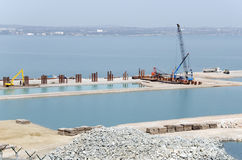 The construction of the bridge Kerch Stock Images