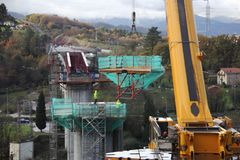 Construction of a bridge. On the new high-speed line in the Basque Country, Galdakao, Vizcaya, Spain Stock Images