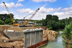 The construction of a bridge over river Psekups Royalty Free Stock Image