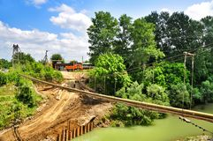 The construction of a bridge over river Psekups Royalty Free Stock Photo