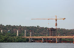 Construction of Bridge Piers Royalty Free Stock Photos
