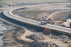 Construction of a bridge the road Royalty Free Stock Photos