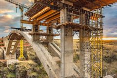 Construction of a bridge in Spain stock image