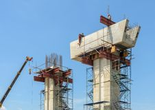 Construction bridge supporting column Royalty Free Stock Images