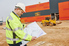 Construction builder engineer at site Royalty Free Stock Photo