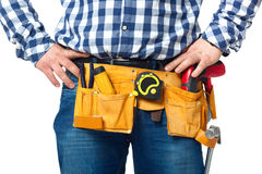 Construction builder tools and belt closeup. Stock Photography