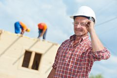 Construction builder worker at site royalty free stock photo