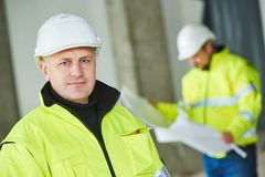 Construction builder worker at site Royalty Free Stock Images