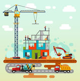 Construction with builders Stock Photography