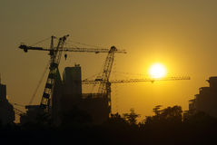 Construction building. The construction building under the sunset Royalty Free Stock Image