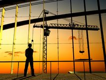 Construction of a building. Kind of a building on a background of the sky Stock Image