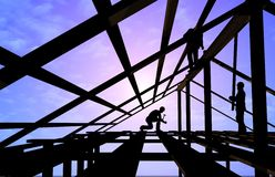 Construction of a building. Kind of a building on a background of the sky Stock Photos
