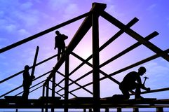 Construction of a building. Kind of a building on a background of the sky Stock Images