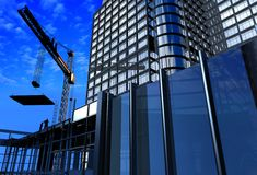 Construction of a building. Kind of a building on a background of the sky Royalty Free Stock Images