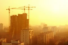 Construction of the Building. In city,landmark Stock Photo