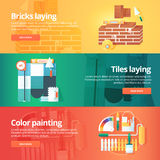 Construction and building banners set. Flat illustrations on the theme of brick and tiles laying work, decorative color painting. Royalty Free Stock Photos