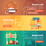 Construction and building banners set. Flat illustrations on the theme of wood craft, metal workshop and road work maintenance. Royalty Free Stock Photography