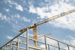 Construction of building a beautiful sky background royalty free stock photography
