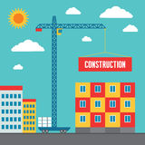 Construction of Building - Concept Vector Illustration in Flat Style Design Stock Images