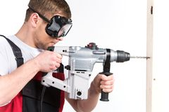 Construction building engineer or manual worker man in safety glasses. Royalty Free Stock Photos