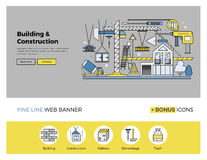 Construction building flat line banner Stock Image