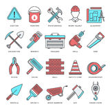 Construction and Building Flat Line Icon Set Stock Image
