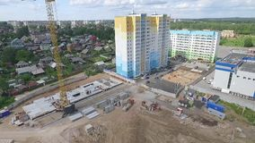 Construction and building house. Aerial shot of construction construction site stock footage