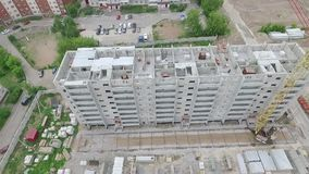 Construction and building house. Aerial shot of construction construction site stock video footage