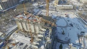 Construction and building house. Aerial shot of construction construction site stock video