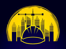 Construction. Building industry designed on grunge circle background graphic vector Stock Photos