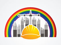 Construction. Building industry designed on line rainbow background graphic vector Royalty Free Stock Photo